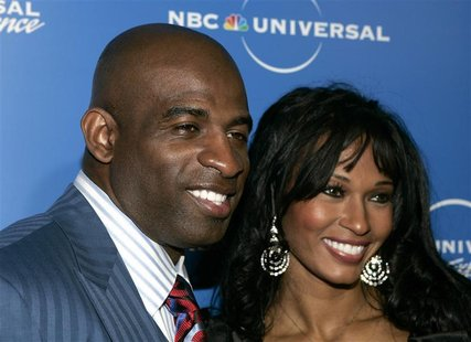 "Former NFL player Deion Sanders and his wife Pilar, stars of the Oxygen Network's"" ""Deion and Pilar: Prime Time Love"", arrive at the NBC Uni"