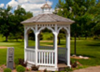 The Gazebo at the tee for hole one at Milham Park Golf Course