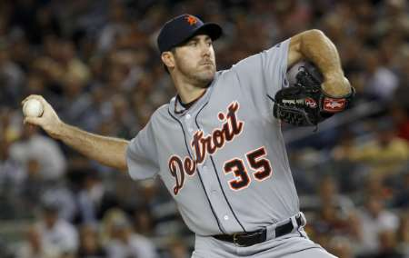 Detroit Tiger starting pitcher Justin Verlander, who picked up his 3rd win of the 2012 season at Seattle, May 8, 2012.