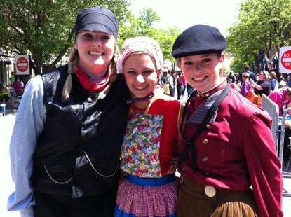 Dutch dancers gather for a photo before the 2012 Volksparade kicks off the Tulip Time parades in Holland, Michigan.