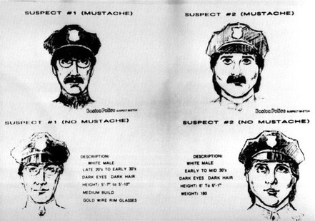 The Federal Bureau of Investigation released four sketches on March 21, 1990, of the two suspects being sought in the multi-million dollar r