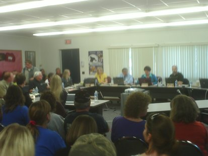 Crowds pack the Merrill School Board meeting for a talk on the future of Pine River Elementary, May 9 2012