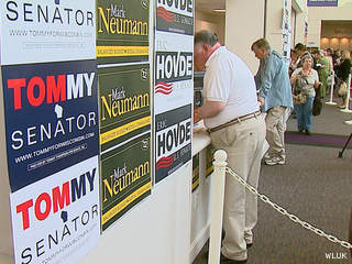 Attendees check in at the Republican Party of Wisconsin state convention at the KI Convention Center in Green Bay, May 11, 2012. (courtesy of FOX 11).