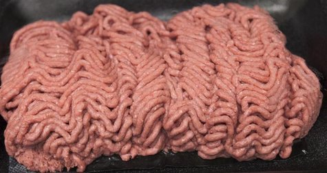 The beef product known as pink slime or lean finely textured beef is displayed on a tray during a tour March 29, 2012. REUTERS/Nati Harnik/P