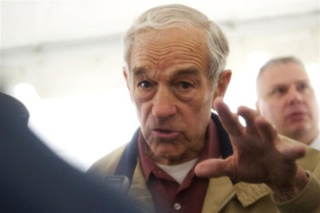 U.S. Republican presidential candidate, Congressman Ron Paul, grants press interviews after holding a rally outside Independence Hall in Phi