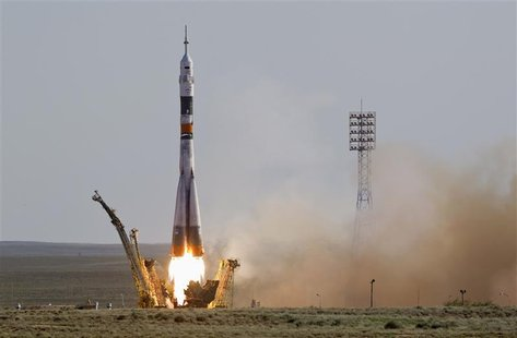 The Soyuz TMA-04M spacecraft carrying the International Space Station (ISS) crew of U.S. astronaut Joseph Acaba and Russian cosmonauts Genna