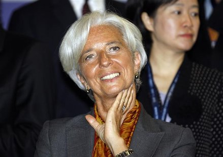 International Monetary Fund (IMF) Managing Director Christine Lagarde smiles during a group photo session before the Turkey Investment Advis