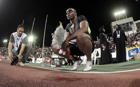Walter Dix of the U.S. reacts after winning the men's 200m at the IAAF Diamond League athletics meet, in Doha May 11, 2012. REUTERS/Fadi Al-