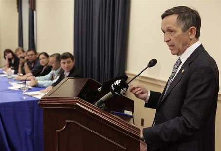 Rep. Dennis Kucinich (D-OH) speaks during a briefing on Capitol Hill to discuss the U.S. proposal for the Keystone XL tar sands oil pipeline