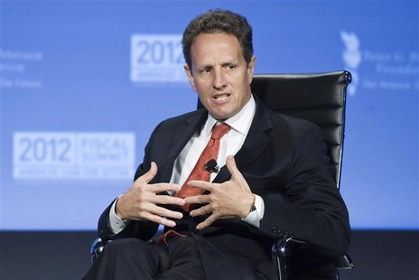U.S. Treasury Secretary Timothy Geithner speaks during an onstage interview at the Peterson Foundation 2012 Fiscal Summit in Washington, May