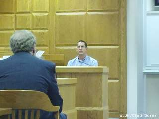 Troy Merryfield testifies in a fraud trial against the Catholic Diocese of Green Bay, May 16, 2012. (courtesy of FOX 11).