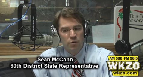 "60th District State Representative Sean McCann makes an impromptu visit to the WKZO studio during ""The Trifecta"" on Friday May 18th.  McCann was addressing claims of him ""playing politics""."