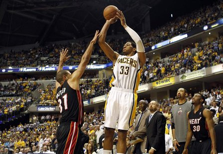 Indiana Pacers forward Danny Granger (33) shoots the basketball defended by Miami Heat forward Shane Battier during the fourth quarter of Ga