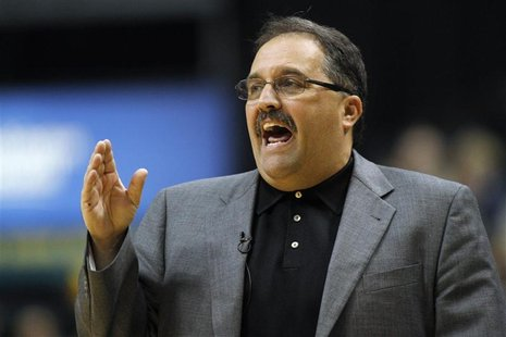 Orlando Magic head coach Stan Van Gundy yells to his players while playing against the Indiana Pacers during Game 1 of their first round NBA