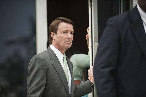 Former U.S. senator John Edwards leaves the federal courthouse in Greensboro, North Carolina May 22, 2012. A North Carolina jury on Tuesday