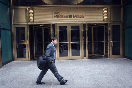 A man walks past the Merrill Lynch building in New York, May 7, 2012. REUTERS/Keith Bedford