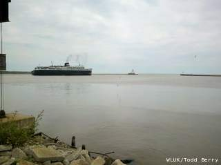 The S.S. Badger ferry sets sail for Ludington, Mich., May 25, 2012. The ferry had been docked in Manitowoc overnight because of engine trouble. (courtesy of FOX 11).