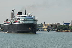 The S.S. Badger is the last coal fired ship in regular service in the U.S.  During the summer months it ferries cars between Ludington and Manitowoc Wisconsin.