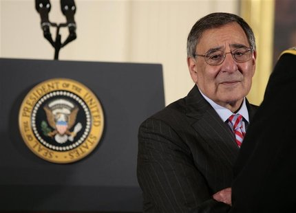 U.S. Secretary of Defense Leon Panetta waits for the arrival of U.S. President Barack Obama before beginning the Medal of Honor ceremony in