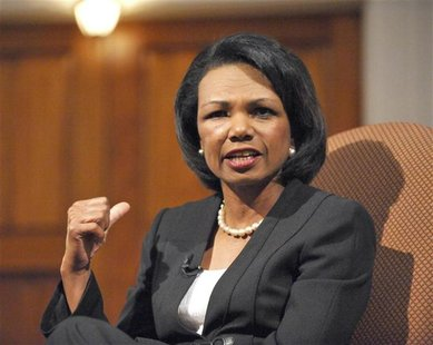 Former U.S. Secretary of State Condoleezza Rice speaks to supporters of the Jewish Primary Day School of the Nation's Capital in Washington,