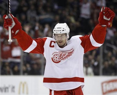 Detroit Red Wings' Nicklas Lidstrom celebrates after scoring against the Los Angeles Kings during the first period of their NHL game in Los