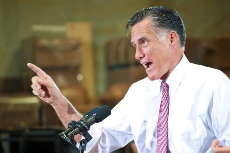 U.S. Republican presidential candidate Mitt Romney addresses supporters during a campaign rally at a local business in Las Vegas, Nevada May