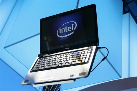 A laptop displays the Intel logo at the 2010 International Consumer Electronics Show (CES) in Las Vegas, Nevada January 7, 2010. REUTERS/Ste