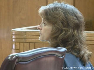 Marianne Oleson appears in Winnebago County court, June 1, 2012. Oleson pleaded no contest to 11 criminal charges stemming from her selling fake Facebook stock. (courtesy of FOX 11).