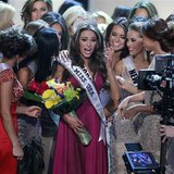 Miss Rhode Island Olivia Culpo (C) is congratulated by fellow contestants after being crowned Miss America 2012 during the Miss USA pageant