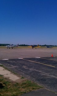 Planes Waiting to Take off during the Branch County Fly-In Breakfast