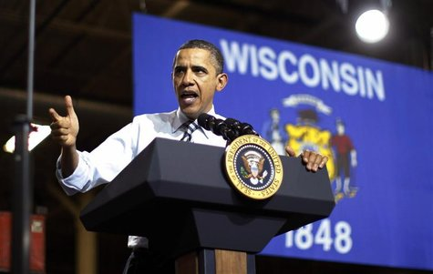 U.S. President Barack Obama delivers remarks on American manufacturing jobs during this visit to Master Lock in Milwaukee, Wisconsin Februar
