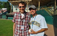 Mike Mathers throws out the first pitch at Woodchucks game 6/8/12 13