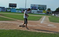 Mike Mathers throws out the first pitch at Woodchucks game 6/8/12 11