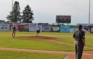 Mike Mathers throws out the first pitch at Woodchucks game 6/8/12 9