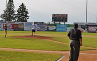 Mike Mathers throws out the first pitch at Woodchucks game 6/8/12 8
