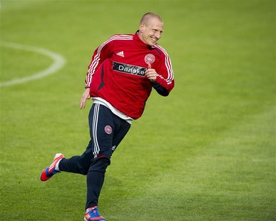 Denmark's Niki Zimling attends a training session with Denmark's Euro 2012 soccer team in Kolobrzeg June 6, 2012. REUTERS/Claus Bech/Scanpix