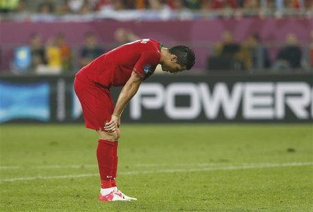 Portugal's Cristiano Ronaldo reacts after their Group B Euro 2012 soccer match against Germany at the New Lviv stadium in Lviv, June 9, 2012