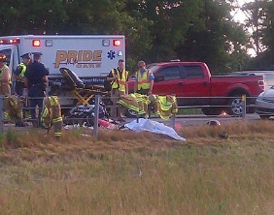 Motorcyclist dies when chain-reaction collision sends him into the cable barriers near the 90 mile marker on I-94.(photo credit Carolyn Binder}