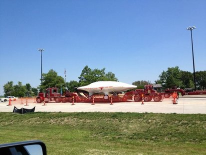 X-47B Drone on a Tractor Trailer at a rest stop in Illinois