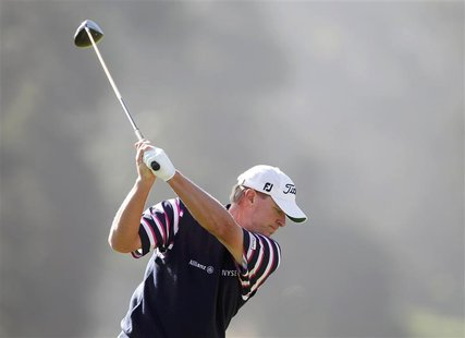 Steve Stricker of the U.S. hits from the ninth tee during a practice round for the 2012 U.S. Open golf championship on the Lake Course at th