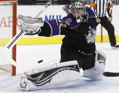 Los Angeles Kings goaltender Jonathan Quick, named the winner of the Conn Smythe trophy as the MVP of the Stanley Cup playoffs (REUTERS)