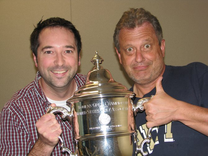 Maino & Nick with the US Women's Open Trophy
