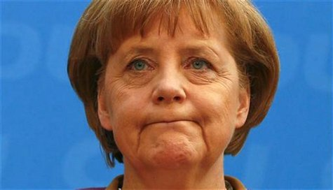 Christian Democratic Union (CDU) party leader and Chancellor Angela Merkel attends a news conference in Berlin, May 14, 2012. REUTERS/Fabriz