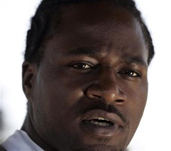 "Adam ""Pacman"" Jones speaks at a news conference following the Dallas Cowboys' organized team activity (OTA) practice at their Valley Ranch t"
