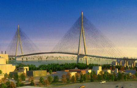 Artists rendering of what a new river bridge might look like