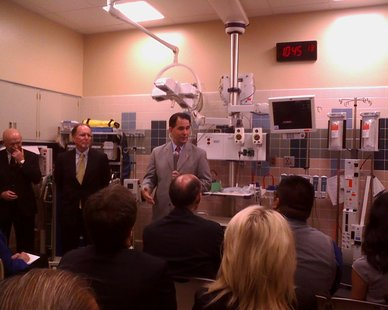 Governor Walker and UW officials announcing new equivalency program at St Clare's Hospital in Weston, June 19 2012