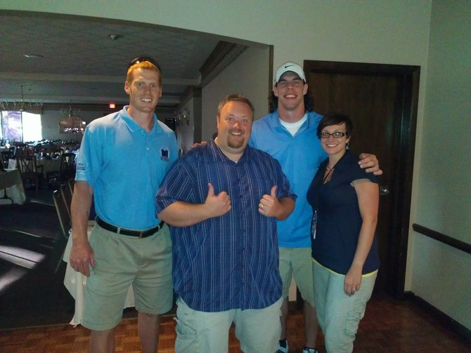 Bryan and Nikki with Green Bay Packers Tim Masthay and Tom Crabtree