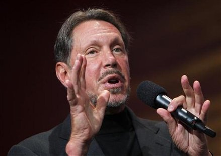 Oracle CEO Larry Ellison gestures during his keynote address at Oracle Open World in San Francisco, California September 22, 2010. REUTERS/R