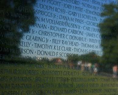 A section of the Vietnam Veterans Memorial in Washington DC