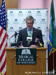 Dr. John Raymond, Medical College of Wisconsin president, announces plans to expand to the Green Bay area at a news conference at Green Bay City Hall June 25, 2012. (courtesy of FOX 11)